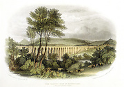 Shrewsbury, Wales and Chester Railway: Dee viaduct in the Vale of Llangollen, built between April 1846 and August 1848 at a cost of £76,000. 19 arches of 60ft span, 148ft high. Engineer: Henry Roberson. Line opened 14 October 1848. Hand-coloured engraving.