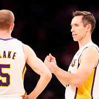 03 November 2013: Los Angeles Lakers point guard Steve Nash (10) talks to Los Angeles Lakers point guard Steve Blake (5) during the Los Angeles Lakers 105-103 victory over the Atlanta Hawks at the Staples Center, Los Angeles, California, USA.