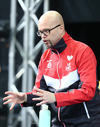 February 23, 2018 - London, England, United Kingdom - Marcus GUSTAFSON Coach of England.during 2018 International Table Tennis Federation World Cup at Copper Box Arena, London  England on 23 Feb 2018. (Credit Image: © Kieran Galvin/NurPhoto via ZUMA Press)