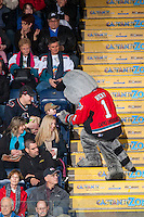 KELOWNA, CANADA - FEBRUARY 9: Rocky Racoon the mascot of the Kelowna Rockets shakes hands with a young fan on February 9, 2015 at Prospera Place in Kelowna, British Columbia, Canada.  (Photo by Marissa Baecker/Shoot the Breeze)  *** Local Caption *** Rocky Racoon