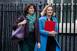 © Licensed to London News Pictures. 29/01/2019. London, UK. Energy and Clean Growth Minister Claire Perry and Secretary of State for Work and Pensions Amber Rudd leave 10 Downing Street after attending a Cabinet meeting this morning. Photo credit : Tom Nicholson/LNP