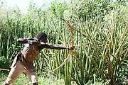 Datoga men hunting with bow and arrow Photographed at Lake Eyasi, Tanzania