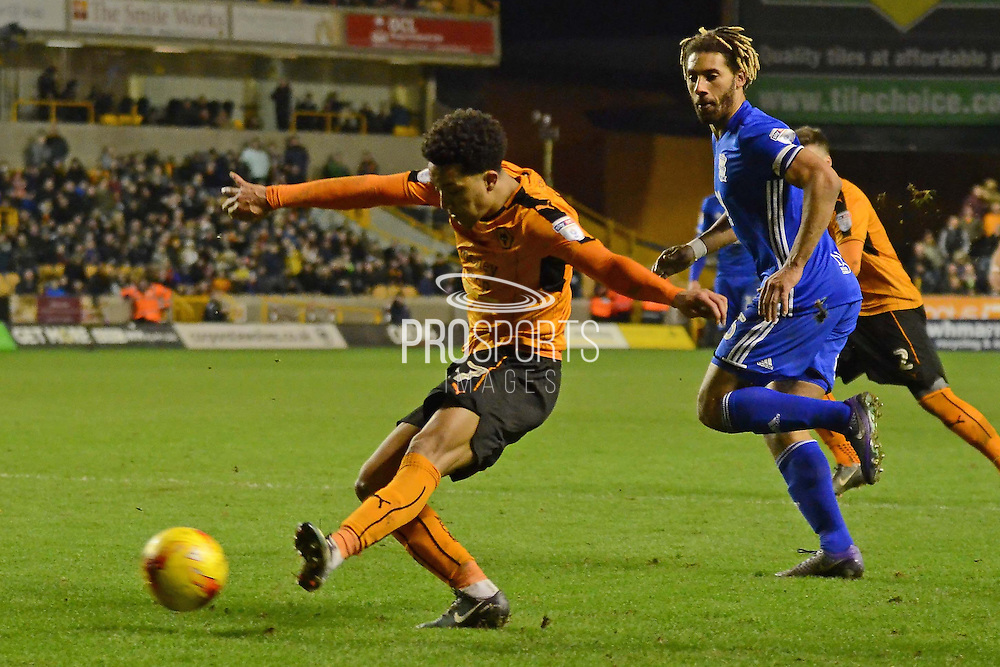Wolverhampton Wanderers striker Helder Costa (17) shoots at goal 1-2 during the EFL Sky Bet Championship match between Wolverhampton Wanderers and Birmingham City at Molineux, Wolverhampton, England on 24 February 2017. Photo by Alan Franklin.