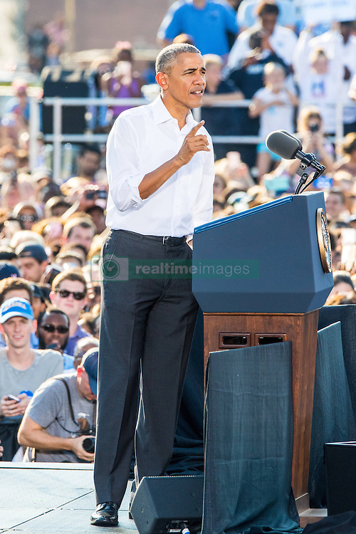 November 2, 2016 - Chapel Hill, North Carolina, U.S - President Barack Obama campaigns for Hillary Clinton in Chapel Hill, NC at the University of North Carolina-Chapel Hill, Michael Hooker Fields. (Credit Image: © Andy Martin Jr. via ZUMA Wire)