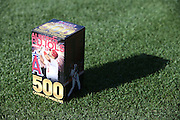 ANAHEIM, CA - MAY 21:  Closeup photo of the Bobble Head Box created for Albert Pujols #5 of the Los Angeles Angels of Anaheim on the grass at Angel Stadium before the game against the Houston Astros at Angel Stadium on Wednesday, May 21, 2014 in Anaheim, California. The Angels won the game 2-1. (Photo by Paul Spinelli/MLB Photos via Getty Images)