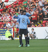 Kevin McBride congratulates Luka Tankulic after the German striker's fourth goal in three games for Dundee - Sheffield United v Dundee, pre season friendly at Bramall Lane<br /> <br />  - &copy; David Young - www.davidyoungphoto.co.uk - email: davidyoungphoto@gmail.com
