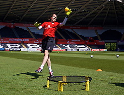 SWANSEA, WALES - Wednesday, June 6, 2018: Wales' goalkeeper Laura O'Sullivan during a training session at the Liberty Stadium ahead of the FIFA Women's World Cup 2019 Qualifying Round Group 1 match against Bosnia and Herzegovina. (Pic by David Rawcliffe/Propaganda)