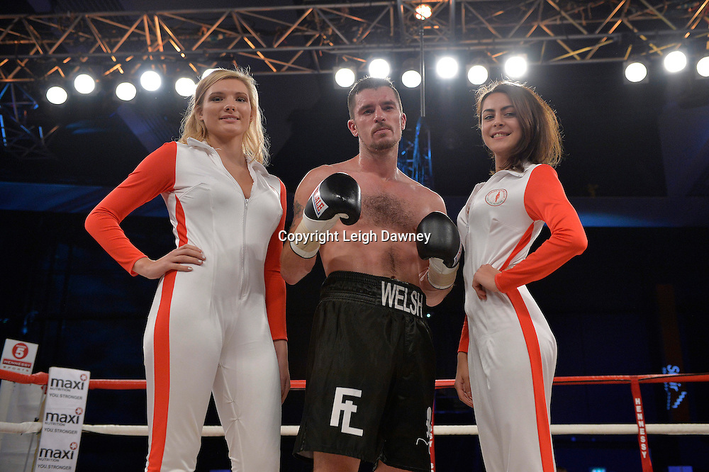 Martin Welsh defeats Tommy Broadbent in a middleweight boxing contest at Glow, Bluewater, Kent on the 8th November 2014. Promoter: Hennessy Sports. © Leigh Dawney Photography 2014.