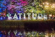 The Latitude sign at night - The 2017 Latitude Festival, Henham Park. Suffolk 13 July 2017