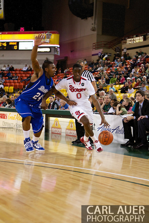 November 26th, 2010:  Anchorage, Alaska - St. John's freshman forward Dwayne Polee drives during the Red Storm's Great Alaska Shootout game against the Drake Bulldogs.  The Red Storm defense held Drake to a tournament low score as St. Johns advanced to the final game 82-39.