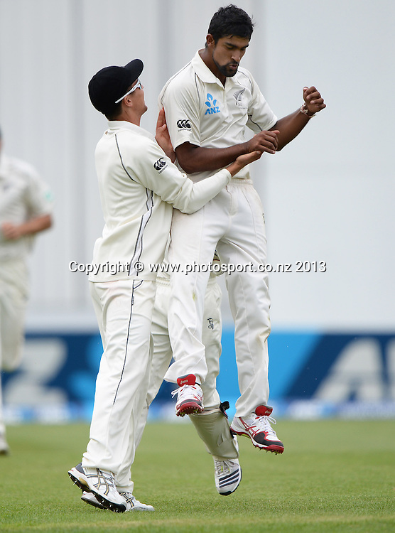 New Zealand leg spinner Ish Sodhi celebrates bowling Denesh Ramdin on Day 4 of the 1st cricket test match of the ANZ Test Series. New Zealand Black Caps v West Indies at University Oval in Dunedin. Friday 6 December 2013. Photo: Andrew Cornaga/www.Photosport.co.nz