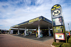 Morrisons supermarket petrol station, Freemans Park, Leicester, England, United Kingdom.