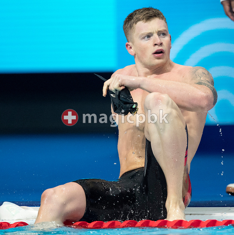 Adam PEATY of Great Britain on his way out after clocking in a new World Record time in the men's 50m Breaststroke Heats during the swimming events of the 17th Fina World Championships held at the Duna Arena in Budapest, Hungary, Tuesday, July 25, 2017. (Photo by Patrick B. Kraemer / MAGICPBK)