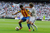 Real Madrid´s Fabio Coentrao and Valencia´s Alvaro Negredo during 2014-15 La Liga match between Real Madrid and Valencia at Santiago Bernabeu stadium in Madrid, Spain. May 09, 2015. (ALTERPHOTOS/Luis Fernandez)