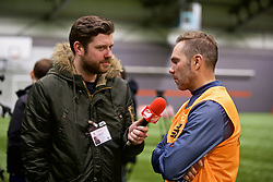 LIVERPOOL, ENGLAND - Wednesday, February 7, 2018: Jason McAteer, being interviewed by Redmen TV, during a media session at the Liverpool Academy ahead of the LFC Foundation charity match between a Liverpool FC Legends team and FC Bayern Munich Legends. (Pic by David Rawcliffe/Propaganda)