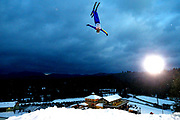 Liu Zhongqing of China trains before the Mens Qualifying round of the Putnam Freestyle World Cup at the Lake Placid Olympic Ski Jumping Complex on January 20, 2018 in Lake Placid, New York.