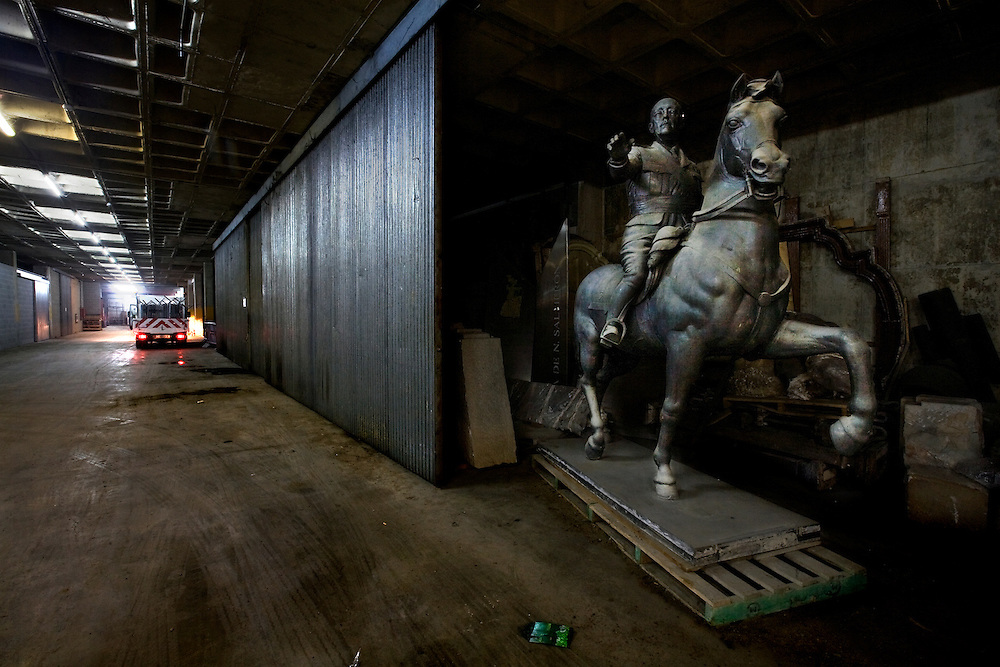 Barcelona, Spain.<br /> An equestrian sculpture of the dictator Francisco Franco.Many sculptures are taken off the streets and stored in an old warehouse &copy;Carmen Secanella