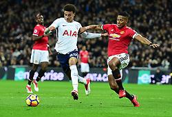 Dele Alli of Tottenham Hotspur Battles for the ball with Luis Antonio Valencia of Manchester United - Mandatory by-line: Alex James/JMP - 31/01/2018 - FOOTBALL - Wembley Stadium - London, England - Tottenham Hotspur v Manchester United - Premier League