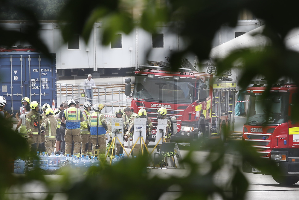 © Licensed to London News Pictures. 11/07/2019. Watford, UK. The scene outside the Warner Bros studios at Leavesden near Watford. The fire service were called in overnight after a fire started in one of the studios. The Harry Potter series was filmed here. Photo credit: Peter Macdiarmid/LNP