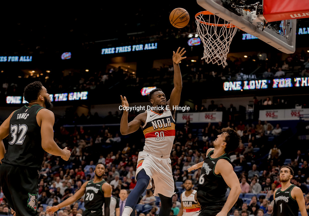 Dec 31, 2018; New Orleans, LA, USA; New Orleans Pelicans forward Julius Randle (30) shoots over Minnesota Timberwolves forward Dario Saric (36) during the second half at the Smoothie King Center. Mandatory Credit: Derick E. Hingle-USA TODAY Sports