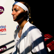August 25, 2016, New Haven, Connecticut: <br /> Petra Kvitova of the Czech Republic walks out of the tunnel before a match against and Ekaterina Makarova of Russia during Day 7 of the 2016 Connecticut Open at the Yale University Tennis Center on Thursday, August  25, 2016 in New Haven, Connecticut. <br /> (Photo by Billie Weiss/Connecticut Open)