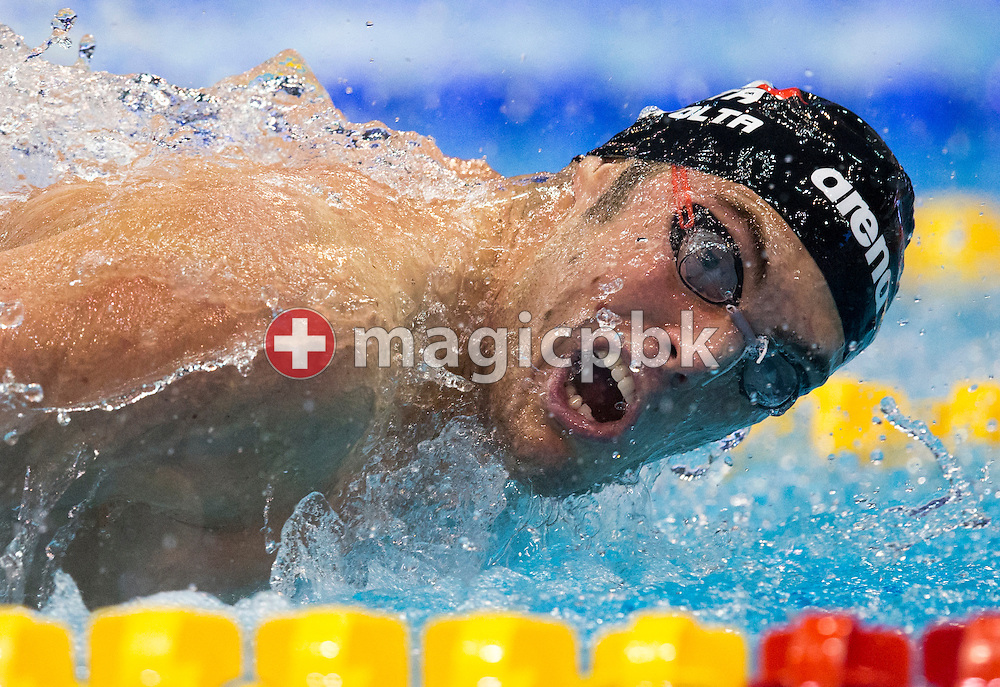 Matteo RIVOLTA of Italy competes in the men's 100m Butterfly Semifinal during the 18th LEN European Short Course Swimming Championships held at the Wingate Institute in Netanya, Israel, Wednesday, Dec. 2, 2015. (Photo by Patrick B. Kraemer / MAGICPBK)