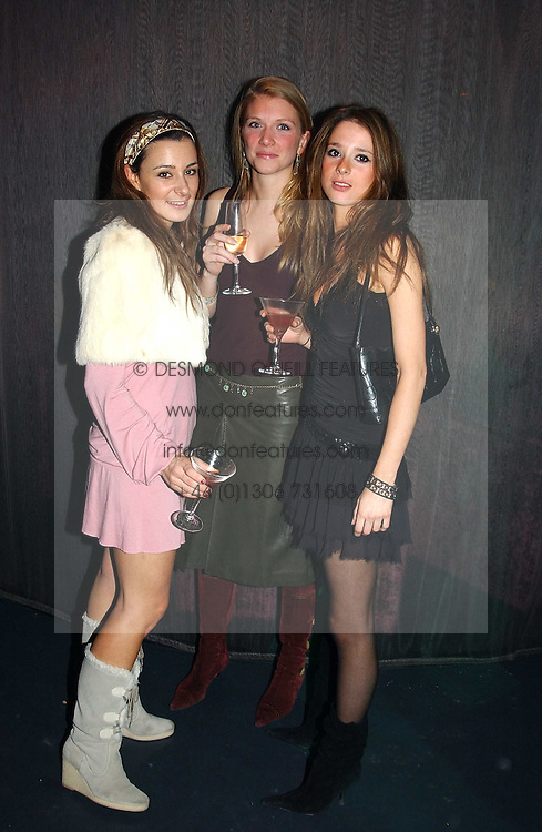 Left to right, MELISSA DEL BONO, CHLOE SIEVWRIGHT and CHARLOTTE COWEN at a party hosted by Panerai and the Baglioni Hotel, 60 Hyde Park Gate, London on 6th December 2004.<br />