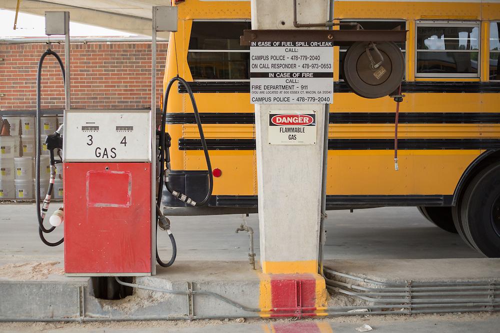 A gasoline fuel pump for school buses at the Bibb County Board of Education Transportation Department, where buses are maintained and refueled, photographed on Tuesday, April 14, 2015 in Macon, Ga. Photo by Kevin Liles for The New York Times
