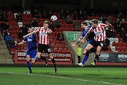 Rob Dickie scores his  second goal during the FA Trophy match between Cheltenham Town and Chelmsford City at Whaddon Road, Cheltenham, England on 12 December 2015. Photo by Antony Thompson.