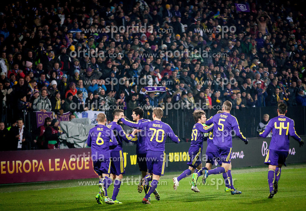 Players of Maribor celebrate after scoring 1st goal during football match between NK Maribor and Wigan Athletic FC (ENG) in Round 6 of Group D of UEFA Europa League 2014, on December 12, 2013 in Stadion Ljudski vrt, Maribor, Slovenia. Maribor won against Wigan 2-1 and qualified to next Stage. Photo by Vid Ponikvar / Sportida
