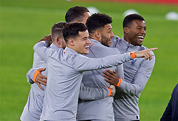 SEVILLE, SPAIN - Monday, November 20, 2017: Liverpool's Philippe Coutinho Correia, Alex Oxlade-Chamberlain and Georginio Wijnaldum during a training session ahead of the UEFA Champions League Group E match between Sevilla FC and Liverpool FC at the Estadio Ramón Sánchez Pizjuán. (Pic by David Rawcliffe/Propaganda)
