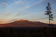 PATTEN, ME - OCTOBER 9, 2013: The sunrise view of Mt. Katahdin in nearby Baxter State Park from an overlook off Katahdin Loop Road in a proposed national park in the Northern woods of Maine. The park's land, which is now open to the public, would be donated by the family of Roxanne Quimby and her son, Lucas St. Clair. Craig Dilger for The New York Times