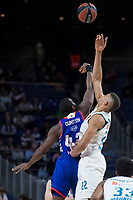 Real Madrid Walter Tavares and Anadolu Efes Bryant Dunston during Turkish Airlines Euroleague match between Real Madrid and Anadolu Efes at Wizink Center in Madrid, Spain. January 25, 2018. (ALTERPHOTOS/Borja B.Hojas)