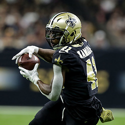 Nov 4, 2018; New Orleans, LA, USA; New Orleans Saints running back Alvin Kamara (41) during the first half against the Los Angeles Ramsat the Mercedes-Benz Superdome. Mandatory Credit: Derick E. Hingle-USA TODAY Sports