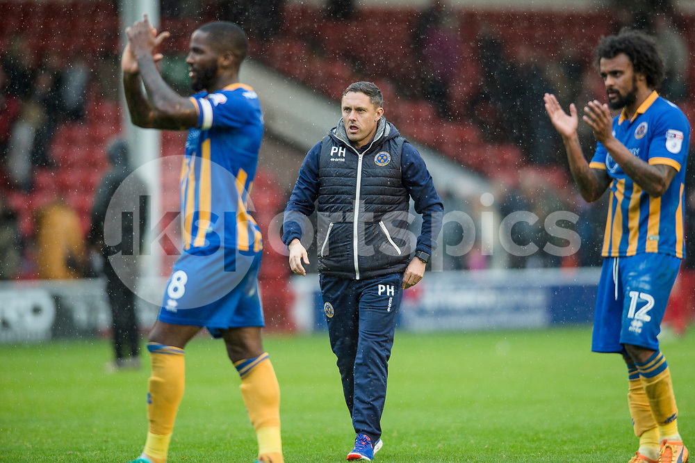 Paul Hurst the Shrewsbury Town manager at the end of the EFL Sky Bet League 1 match between Walsall and Shrewsbury Town at the Banks's Stadium, Walsall, England on 7 October 2017. Photo by Darren Musgrove.