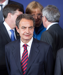 Jose Zapatero, Spain's prime minister, arrives for the family photo, during the European Summit, in Brussels, on Thursday, March 25, 2010. (Photo © Jock Fistick)