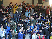 Dundee fans celebrate at the end - Dundee v Hamilton, SPFL Premiership at Dens Park<br /> <br />  - &copy; David Young - www.davidyoungphoto.co.uk - email: davidyoungphoto@gmail.com