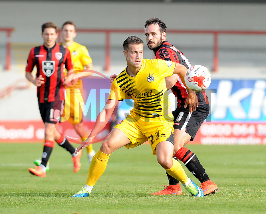 Billy Bodin of Bristol Rovers is challenged by Lee Molyneux of Morecambe - Mandatory byline: Neil Brookman/JMP - 07966 386802 - 03/10/2015 - FOOTBALL - Globe Arena - Morecambe, England - Morecambe FC v Bristol Rovers - Sky Bet League Two