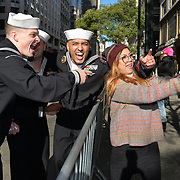 NEW YORK -- U.S. Navy Sailors from Weapons Station Earle pose for a selfie with a New Yorker at the 2017 New York City Veterans Day Parade. Local units are participating in the parade and week of events to honor the service of all our nation's veterans.  <br />  #USNavy, #NavyInNYC, #VeteransDay, #USNavy, #VeteransDay #NeverForget (U.S. Navy photo by Chief Mass Communication Specialist Roger S. Duncan/ Released)