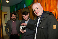Pictured: Chief Executive of Gorgie City Farm Josiah Lockhart, Mark Ruskell and local candidate Dan Heap meet long haired Guinea Pig, Boris.<br /> Scottish Greens on local election campaign trail. Mark Ruskell MSP, the party's environment spokesperson, joined candidate for the Sighthill/Gorgie ward Dan Heap on a visit to Gorgie city farm. The pair met Chief executive of the farm, Josiah Lockhart and Develoopment and fundraising manager, Sarah Campbell during their tour.<br /> <br /> <br /> Ger Harley | EEm 19 April 2017
