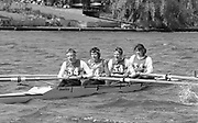Kingston on Thames, United Kingdom.   Stroke Sue SMITH and Kate GROSE, Tideway Scullers School W4+, competing in the  final Round of the Leyland Daf Sprint series, at Kingston RC on the River Thames, Surrey, England, <br /> <br /> Saturday 04.05.1987<br /> <br /> [Mandatory Credit; Peter Spurrier/Intersport-images] 1987 Leyland Daf Sprints, Kingston. UK