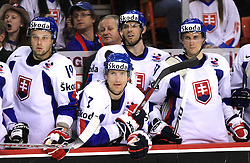Team Slovakia (19-Tomas Starosta of Slovakia, 7-Martin Strbak of Slovakia, Head coach of Slovakia Julius Supler at back) at ice-hockey game Slovenia vs Slovakia at Relegation  Round (group G) of IIHF WC 2008 in Halifax, on May 09, 2008 in Metro Center, Halifax, Nova Scotia, Canada. Slovakia won 5:1. (Photo by Vid Ponikvar / Sportal Images)
