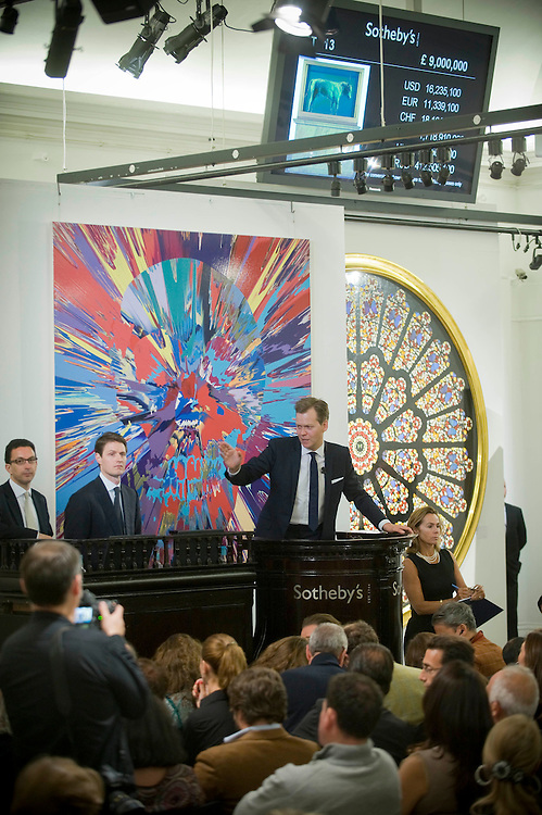 Damien Hirst's ' Beautiful Inside My Head' auction at Sotheby's in London. Damien Hirst set a record when a buyer paid £10,345,250.00 for his 'The Golden Calf'. He is estimated to have made over £200,000,000 over the two days.