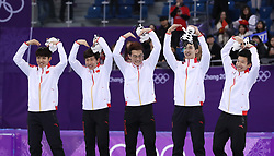 PYEONGCHANG, Feb. 22, 2018  Team China celebrate during venue ceremony of men's 5000m relay final of short track speed skating at the 2018 PyeongChang Winter Olympic Games at Gangneung Ice Arena, Gangneung, South Korea, Feb. 22, 2018. Team China claimed silver medal in a time of 6:32.035. (Credit Image: © Han Yan/Xinhua via ZUMA Wire)
