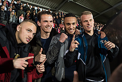 (L-R) Noa Lang of Jong Ajax, goalkeeper Norbert Alblas of Jong Ajax, Noussair Mazraoui of Jong Ajax, Mitchel Bakker of Jong Ajax during the Jupiler League match between Ajax U23 and MVV Maastricht at De Toekomst on April 28, 2018 in Amsterdam, The Netherlands
