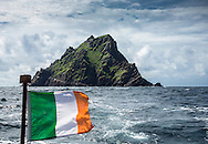 Skellig Michael (217m) seen from a distance at sea, County Kerry, Ireland