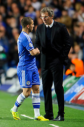 Chelsea Midfielder Eden Hazard (BEL) shakes hands with PSG Manager Laurent Blanc (FRA) after being substituted - Photo mandatory by-line: Rogan Thomson/JMP - 07966 386802 - 08/04/2014 - SPORT - FOOTBALL - Stamford Bridge, London - Chelsea v Paris Saint-Germain - UEFA Champions League Quarter-Final Second Leg.