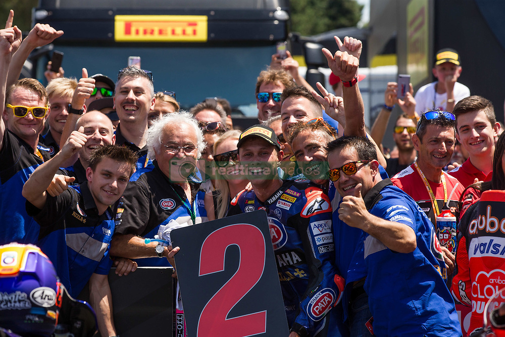 July 8, 2018 - Misano, RN, Italy - Michael Van Der Mark of Pata Yamaha Official WorldSBK Team celebrate the second place of race 2 of the Motul FIM Superbike Championship, Riviera di Rimini Round, at Misano World Circuit ''Marco Simoncelli'', on July 08, 2018 in Misano, Italy  (Credit Image: © Danilo Di Giovanni/NurPhoto via ZUMA Press)