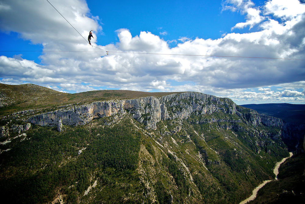 Christian Krr on the return of a FM ascent of the shortest leg of the first SPACE line, 300m high, and 65, 45,30m legs, rigged in the Sordidon sector of Verdon Gorges, France...©2012 Pedro Pimentel
