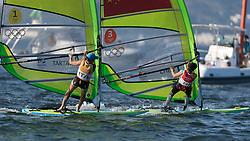 Brazil Rio de Janeiro 14. August 2016 Marina di Gloria, Rio 2016 Olympic Games, Racing Medal Race Day RSX Course <br /> <br /> ©Juerg Kaufmann go4image.com